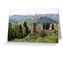 landscape of churches south of Florence Italy  Greeting Card