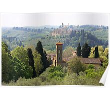 landscape of churches south of Florence Italy  Poster