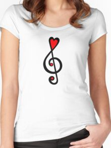 MUSIC CLEF HEART, Love, Music, Treble Clef, Classic Women's Fitted Scoop T-Shirt