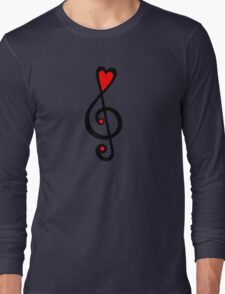 MUSIC CLEF HEART, Love, Music, Treble Clef, Classic Long Sleeve T-Shirt