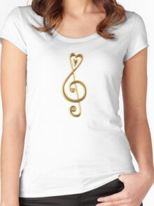 MUSIC CLEF HEART, Love, Note, Music, Treble Clef, Classic Women's Fitted Scoop T-Shirt