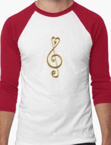 MUSIC CLEF HEART, Love, Note, Music, Treble Clef, Classic Men's Baseball ¾ T-Shirt