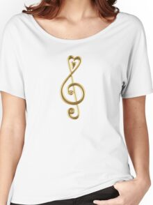 MUSIC CLEF HEART, Love, Note, Music, Treble Clef, Classic Women's Relaxed Fit T-Shirt