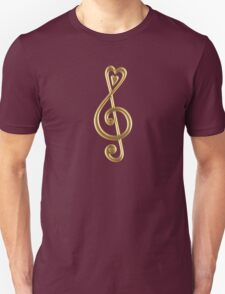 MUSIC CLEF HEART, Love, Note, Music, Treble Clef, Classic Unisex T-Shirt