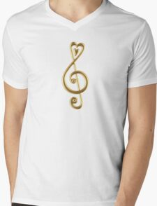 MUSIC CLEF HEART, Love, Note, Music, Treble Clef, Classic Mens V-Neck T-Shirt