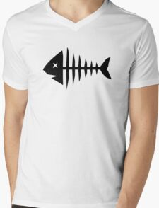 Fishbone skeleton Mens V-Neck T-Shirt