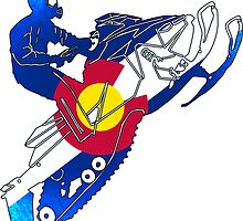 Vivid bright Colorado flag snowmobiler by artisticattitud