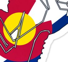Vivid bright Colorado flag snowmobiler Sticker