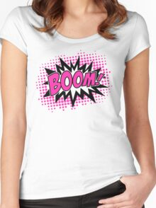 COMIC BOOM, Speech Bubble, Comic Book Explosion, Cartoon Women's Fitted Scoop T-Shirt