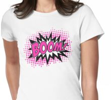 COMIC BOOM, Speech Bubble, Comic Book Explosion, Cartoon Womens Fitted T-Shirt