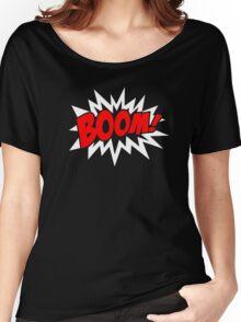 COMIC BOOM, Speech Bubble, Comic Book Explosion, Cartoon Women's Relaxed Fit T-Shirt