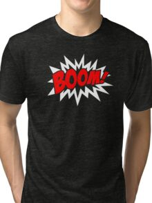 COMIC BOOM, Speech Bubble, Comic Book Explosion, Cartoon Tri-blend T-Shirt