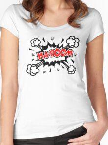 COMIC KA-BOOM, Speech Bubble, Comic Book Explosion, Cartoon Women's Fitted Scoop T-Shirt