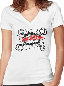 COMIC KA-BOOM, Speech Bubble, Comic Book Explosion, Cartoon Women's Fitted V-Neck T-Shirt