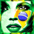 Brazil Flag Girl Portrait by BluedarkArt
