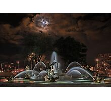 Full Moon at the J C Nichols Fountain Photographic Print