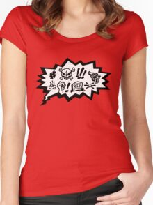 COMIC CURSES! Skull, Speech Bubble, Comic Book Explosion, Cartoon Women's Fitted Scoop T-Shirt