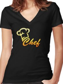 Chef Cook, Hat, Cooking, Kitchen, Hotel, Restaurant Women's Fitted V-Neck T-Shirt