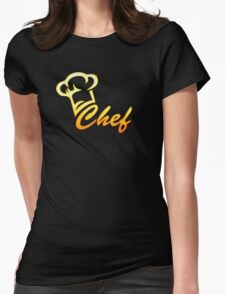 Chef Cook, Hat, Cooking, Kitchen, Hotel, Restaurant Womens Fitted T-Shirt