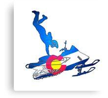 Neon Colorado flag snowmobiler trickster Canvas Print