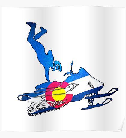 Neon Colorado flag snowmobiler trickster Poster