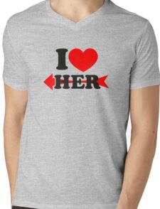 LOVE HER, Couple, Heart, I Love You, Pair, Valentine` Day Mens V-Neck T-Shirt