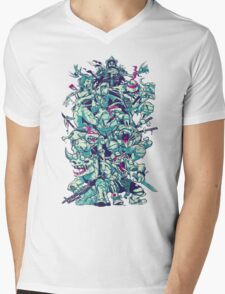 Nuclear Zombie Ninja Turtles Mens V-Neck T-Shirt