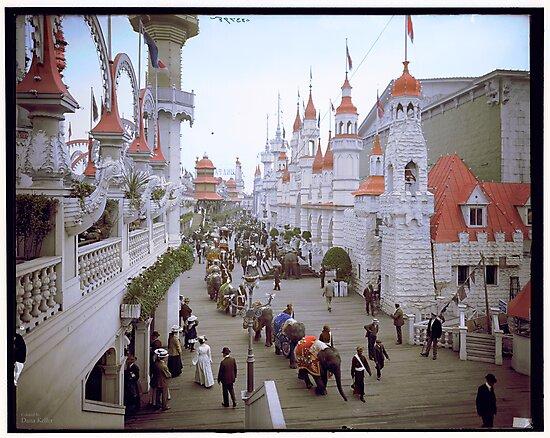 "Coney Island, New York. ""Luna Park Promenade"", ca. 1905 by Dana Keller"