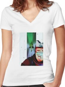 Space Odyssey Montage Women's Fitted V-Neck T-Shirt