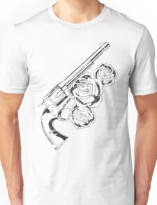Western Distressed Pistol with Roses Unisex T-Shirt