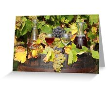red and white wine autumn scene Greeting Card