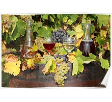 red and white wine autumn scene Poster