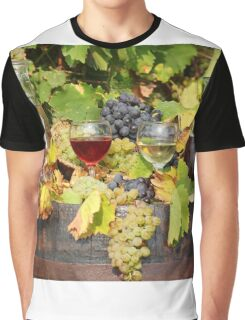 red and white wine autumn scene Graphic T-Shirt