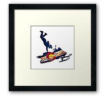 Colorado flag vintage snowmobiler trickster Framed Print