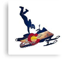 Colorado flag vintage snowmobiler trickster Canvas Print