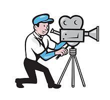 Cameraman Vintage Film Movie Camera Side Cartoon by patrimonio