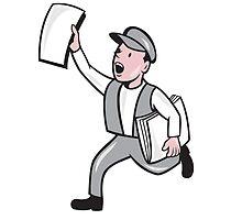 Newsboy Selling Newspaper Cartoon by patrimonio
