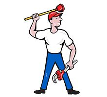 Plumber Wield Wrench Plunger Isolated Cartoon by patrimonio