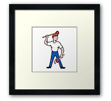 Plumber Wield Wrench Plunger Isolated Cartoon Framed Print