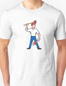 Plumber Wield Wrench Plunger Isolated Cartoon Unisex T-Shirt
