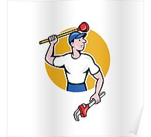 Plumber Wielding Wrench Plunger Cartoon Poster