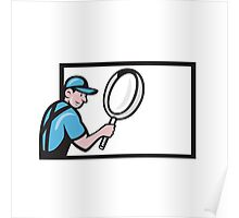 Worker Magnifying Glass Billboard Cartoon Poster