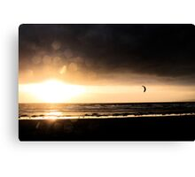 Kitesurfer At Sunset Canvas Print