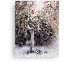 Winter Veil - Cardinal Pair Canvas Print