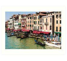 Venice, Italy - street scene with gondolas Art Print
