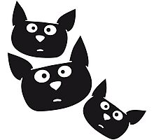 Funny cartoon cats faces Photographic Print