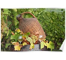 white grape and wine autumn scene Poster