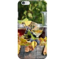 white and red wine on wooden barrel iPhone Case/Skin