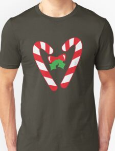 Christmas candy canes with a bow T-Shirt