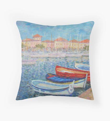 Bout Near Sea Town Throw Pillow